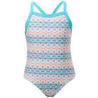 2e9c1d8738076 Snapper Rock Swimwear Girl's Marrakesh X Back Tie One-Piece Swimsuit