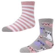 MeMoi Girl's Kitty Cat Fuzzy Sock, 2 Pack