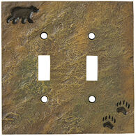 Big Sky Carvers Stonecast Bear Track Double Switch Plate Cover