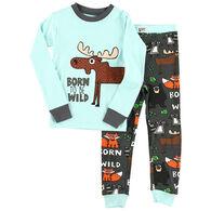 Lazy One Boys' Born To Be Wild Moose Pajama Set