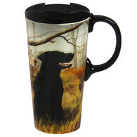 Evergreen Black and Yellow Dogs Ceramic Travel Cup w/ Lid