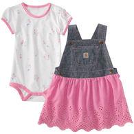 Carhartt Infant/Toddler Girls' Denim Jumper Set, 2pc