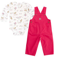 Carhartt Infant/Toddler Girls' Meadow Horse Overall Set, 2pc