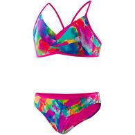 Speedo Girl's Tie Dye Sky Sport Splice Two Piece Bikini