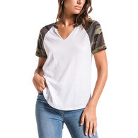 Z Supply Women's Camo Cotton Slub Baseball Short-Sleeve T-Shirt