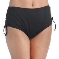 Maxine Swim Group Women's 24th & Ocean Solid Mid Waist Side Tie Hipster Bikini Swimsuit Bottom