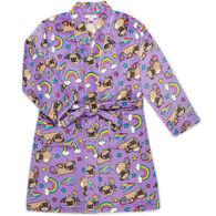 Candy Pink Girl's Pugicorn Fleece Robe