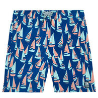Tom & Teddy Boy's Marine Blue & Coral Boats Swim Trunk