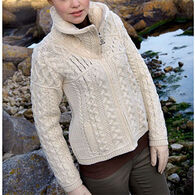 Aran Crafts Women's Double Collar Zippered Irish Cardigan