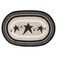 Capitol Earth Primitive Stars Black Oval Patch Braided Rug