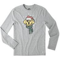 Life is Good Men's Holiday Dog Long-Sleeve Crusher T-Shirt