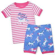 Hatley Girl's Dreamy Unicorns Organic Cotton Short Pajama Set