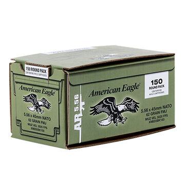 American Eagle 5.56x45mm 62 Grain FMJ BT Rifle Ammo (150)
