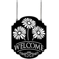 Carson Home Accents Welcome Gerbera Metal Garden Flag