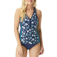 Beach House - Swimwear Anywear Women's Erinna Garden Variety Racerback Zip Front Tankini Top Swimsuit