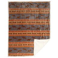 Carstens Inc. Moose Tracks Plush Sherpa Fleece Throw Blanket