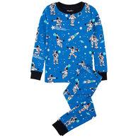 Hatley Boys' Athletic Astronauts Glow in the Dark Organic Cotton Pajama Set