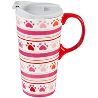 Evergreen Puppy Love Ceramic Travel Cup w/ Lid