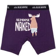 Hatley Little Blue House Men's Almoose Naked Boxer