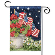 BreezeArt Geraniums With Flags Garden Flag