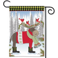 BreezeArt Winter Fun Moose Garden Flag