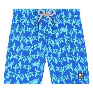 Tom & Teddy Boys Blue & Ice Green Turtle Swim Trunk