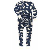Lazy One Men's Blue Classic Moose Flapjacks Pajama