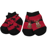 Hatley Infant Little Blue House Moose On Red Baby Sock, 2-Pack