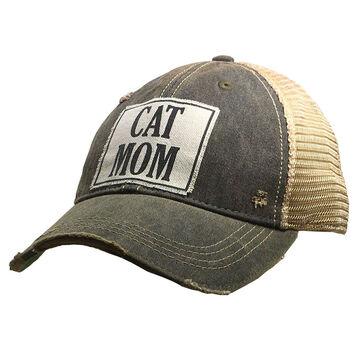 Vintage Life Womens Cat Mom Distressed Trucker Hat