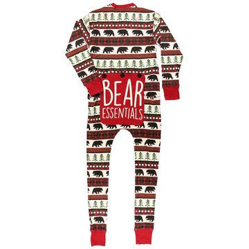 Lazy One Mens Bear Essentials Onesie Flap Jack Pajamas