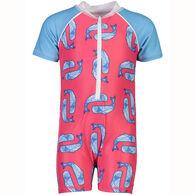 Snapper Rock Swimwear Infant Boy's Geo Whale Short-Sleeve Sunsuit