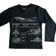 Spudz Toddler Boys' Airplane Blueprint Long-Sleeve T-Shirt