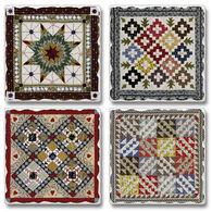 Ridge Top Kountry Krystal Game Board Quilt Coasters, 4-Pack