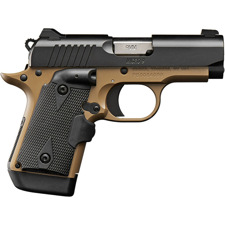 "Kimber Micro 9 Stainless Dn Tfx Pro Sight Hogue: Kimber Micro 9 Desert Tan (DN) 9mm 3.15"" 7-Round Pistol"