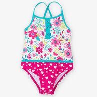 Hatley Girl's Flowers Colorblock One Piece Swimsuit