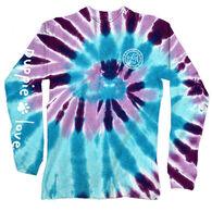 Puppie Love Women's Ocean Berry Spiral Tie Dye Pup Long-Sleeve T-Shirt