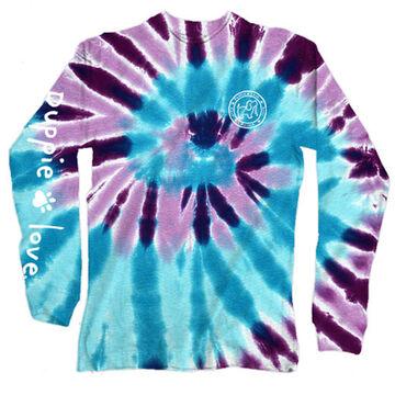 Puppie Love Womens Ocean Berry Spiral Tie Dye Pup Long-Sleeve T-Shirt