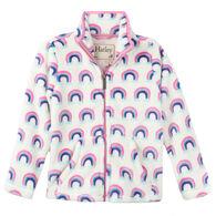 Hatley Girls' Pretty Rainbows Fuzzy Fleece Zip Up Jacket