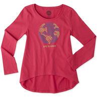 Life is Good Girl's World Peace Scoop Neck Long-Sleeve Swing Shirt
