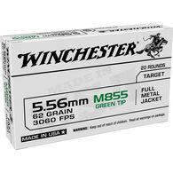 Winchester USA White Box 5.56mm / M855 62 Grain FMJ Green Tip Rifle Ammo (20)