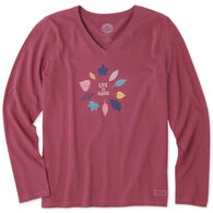Life is Good Women's Colorful Leaves Crusher Vee Long-Sleeve T-Shirt
