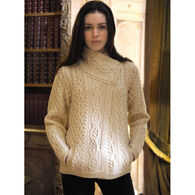 Aran Crafts Women's Three Button Jacket Irish Sweater