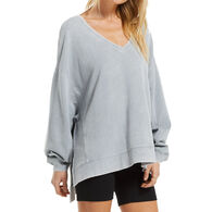 Z Supply Women's Washed V-Neck Modern Weekender Long-Sleeve Sweatshirt