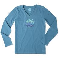 Life is Good Women's Lotus Flower Long-Sleeve Crusher V-Neck T-Shirt