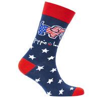 Puppie Love Women's USA Flag Pup Crew Sock