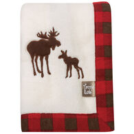 Trend Lab Northwoods Moose Framed Coral Fleece Receiving Blanket