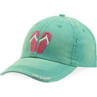 Life is Good Women's Bright Teal Flip Flops Sunwashed Chill Cap