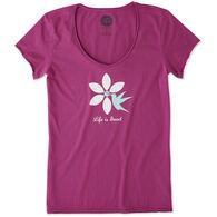 Life is Good Women's Hummingbird Flower Smooth Scoop Short-Sleeve T-Shirt