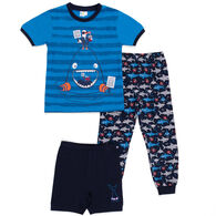 Noruk Boy's Sharks PJ Set, 3-Piece