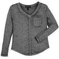 Derek Heart Women's Burnout V-Neck Long-Sleeve Shirt